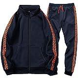 Men's Tracksuit Set 2 Piece Athletic Sports Casual Full Zip Active Wear Sweatsuit, Blue-S
