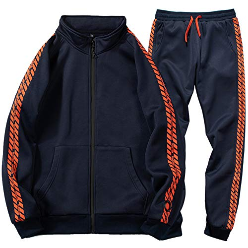 Gopune Men's Athletic Tracksuit Full Zip Warm Jogging Sweat Suits (Blue Grey,XL)