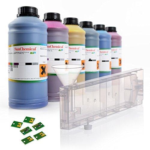 Set de iniciación | Sistema de recarga para tintas Roland | Streamline ESL HPQLO | Cartuchos con chip permanente | 6 colores