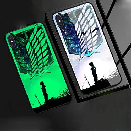 Funda para Teléfono,Estuche para iPhone con Cordón Estuche Protector Resplandor Nocturno Anime 3D Attack On Titan Carcasa De Vidrio Templado Genial Compatible con iPhone XR