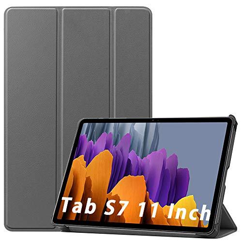NUPO Hülle für Samsung Galaxy Tab S7 11,0 Zoll 2020, Ultra Slim Cover Schutzhülle PU Ultra Leightweight Flip Hülle mit Standfunktion, Ideal Geeignet für Galaxy Tab S7 SM-T870/875, Grau