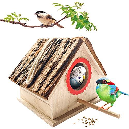 kathson Wooden Bird House for Outdoor Hanging, Natural Cedar Outside Garden Patio Decorative for Dove Finch Wren Robin Sparrow Hummingbird
