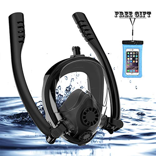 HJKB 2019 Newest Full Face Snorkel Mask Easy Breathing Snorkeling Mask with Double Tubes antifog and Anti Leak Guarantee with Camera Mount for Adult and Kids (Black Blue, Small)