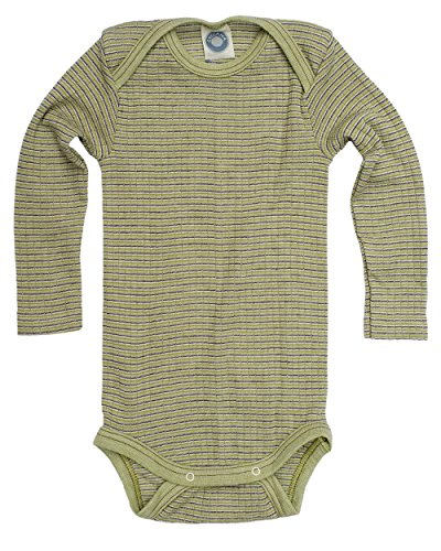 Cosilana, Baby Body Langarm,45% KBA Baumwolle, 35% kbT Wolle, 20% Seide (98/104, Grün/Pflaume/Natur)