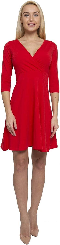 Lunarable Women's Cross Wrap A Line Long Sleeve Dress