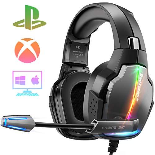 Cascos Gaming PS4, 4 Modos de Iluminación RGB y Orejeras Giratorias de 180°,...