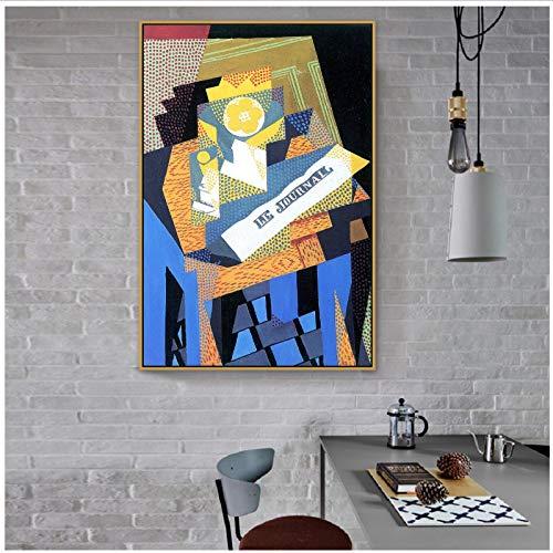 Master kunstenaar kranten en fruitschaal canvas schilderij affiche voor kamer wanddecoratie muur kunstwerk 50x70 cm geen lijst