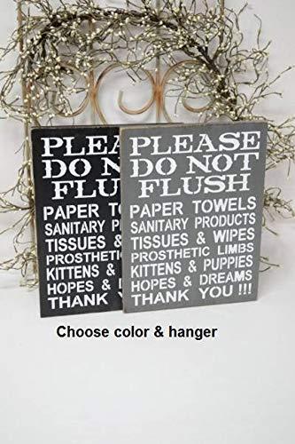 """Signs """"Please do not flush"""" Papierhandtücher für Hygieneartikel und Taschentücher, Hopes and Dreams, 22,9 x 30,5 cm, Massivholz"""