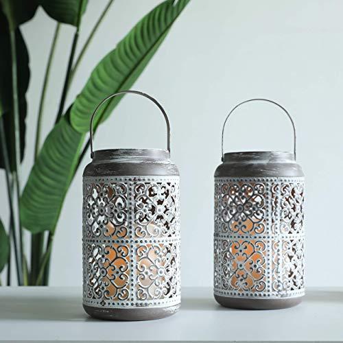JHY DESIGN Lot de 2 Lanternes pour bougie décoratives 20cm haut Lanterne métallique Avec minuterie bougie LED ambre lanternes Porte-Bougies à Suspendre pour Balcon Mariages intérieure extérieure(Gris)