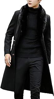 FSSE Men Winter Warm Faux Fur Collar Slim Fit Long Pea Coat Trench Jacket Outerwear