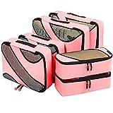 Amazon Brand - Eono Organizer per Valigie Organizzatori da Viaggio Sistema di Cubo di Viaggio Cubo Borse di Stoccaggio Luggage Packing Organizers Travel Packing Cubes - 6 Pezzi, Rosa