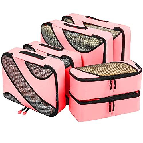 Eono by Amazon - Organizadores de Viaje Cubos de Embalaje Organizadores para Maletas Travel Packing Cubes Equipaje de Viaje Organizadores Organizadores para el Equipaje, Rosado, 6 Pcs