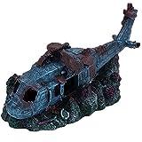 Adornos de petróleo de acuario, helicóptero de resina de acuario con Grota oculta, paisajismo bajo
