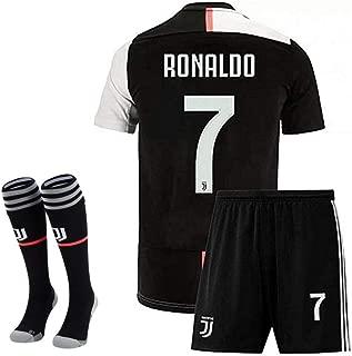 Feeke #7 Ronaldo Shirt Juventus Home Soccer Tshirt for Kids/Youth with Socks & Shorts Black/White