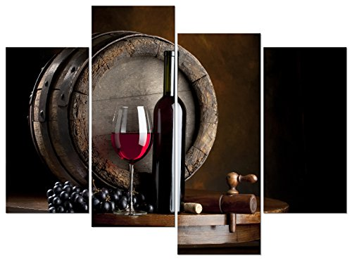 Pyradecor - Lienzo Impreso Vintage para decoración de Cocina, salón o casa, diseño de Frutas de Vino y UVA, 4 Piezas, estirado y Enmarcado, Color Rojo