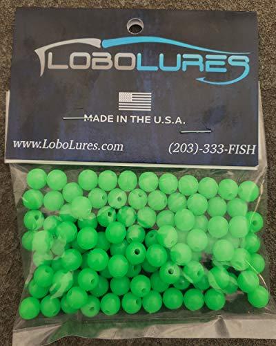Lobo Lures 100 Stück 8 mm Lumo Glow in The Dark Runde Köder Rigging Beads bis zu 200 lb Vorfachköder & Hakenvorfächer