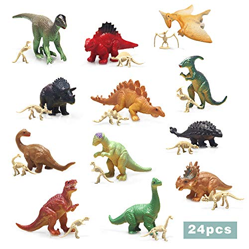 24pcs Mini Dinosaurs Toys with Dinosaur Skeletons, Plastic Dinosaurs Assorted Dinosaur Party Supplies for Girls Boys Ages 3 and Up