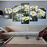 ZRTLAT 100×55cm Pintura de la Lona Marco Lienzo Decoración para el hogar Pintura Cuadros modulares HD Impreso 5 Piezas Margarita Blanca Girasol Flores Cartel Habitación Arte de la Pared