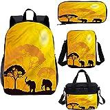 Safari - Juego de mochilas escolares para niños de 17 pulgadas, diseño abstracto de África Wildlife 4 en 1