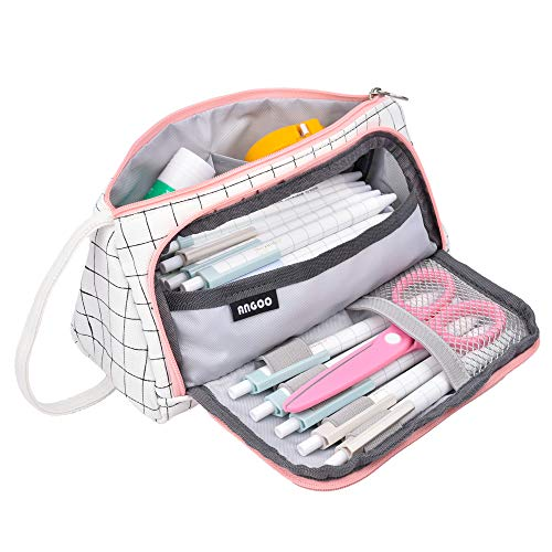Ushinemi Big Pencil Case, Cute Pencil Pouch Storage Capacity Bag School Supply for Middle School Adults College Student Girls Kids Women, White Plaid