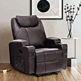 REFICCER Massage Recliner Chair with Remote, PU Leather Heated Lumbar Support 350 LB Single Sofa Chair with Storage...