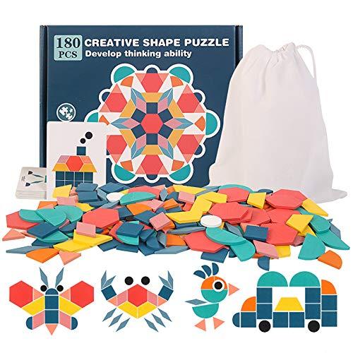 Blocchi di Motivi in Legno, 180 Pezzi Giochi di Ortografia Tangram Forma Puzzle Set con Lettere corrispondenti educativi Montessori Giocattoli di Compleanno per 3 4 5 6 Anni Bambini