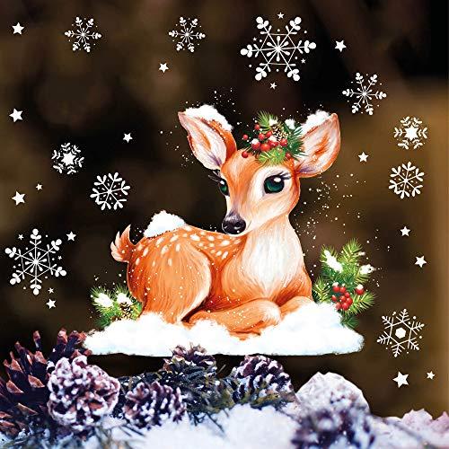 Wandtattoo Loft Fensterbild Weihnachten REH Kitz Schneeflocken Wald Wiederverwendbare Fensteraufkleber Fensterdeko Kinder
