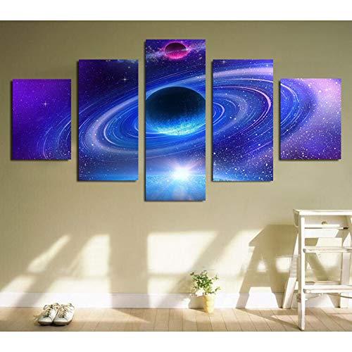 FKHLJ kunst zeilen Hd gedrukte 5 stuks schilderijen planeet met ringen schilderij canvas druk ruimte poster afbeelding canvas druk kunst Size 2 Geen frame.