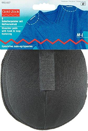 Prym Raglan-Schulterpolster mit Haken und Klettverschluss, Schwarz, 2-teilig, Größe M/L