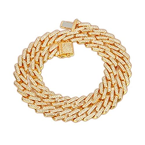 14mm Men's Necklace Rhinestone Bling Gold Silver Jewlery 50/60/75/100cm Long (Color : 6, Size : 75cm)