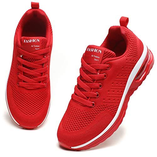 GAXmi Damen Luftkissen Laufschuhe Mesh Atmungsaktiv Running Fitness Turnschuhe rutschfest Stoßfest Outdoors Sportschuhe Aktualisierung Rot 40 EU
