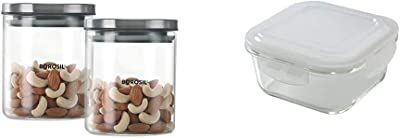 Borosil Classic Glass Jar For Kitchen Storage, Set of 2, (600ml + 600ml) & Klip N Store Glass Food Container, 320 Ml Square, For Kitchen Storage With Air Tight Lid - M Combo