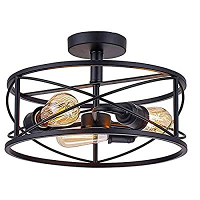 3Light Industrial Semi Flush Mount Ceiling Lamp,E26 Holder 14.2 Inch Cage Rustic Pendant Lighting Lamp Fixture Farmhouse Style Close to Ceiling Light ETL Listed for Garage Foyer Porch Hallway Entryway