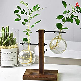 Baovery Table Desk Bulb Glass Hydroponic Vase Flower Plant Pot with Wooden Tray Office Decor