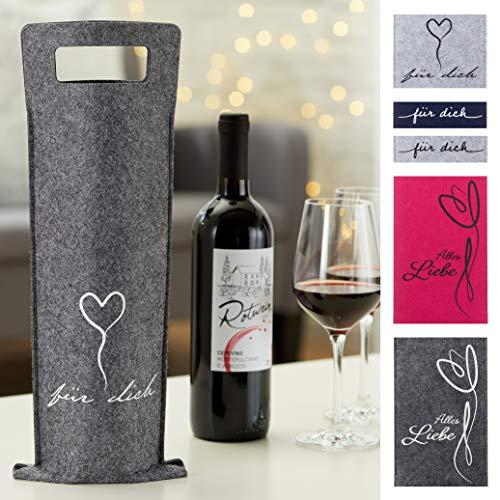 MC Trend 4er Set Filz Flaschentaschen mit Sprüchen Weinflaschentasche Geschenkverpackung Flaschen Wein (6er Set Farbig)