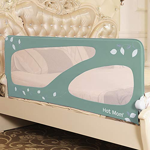 Hot Mom - barandillas de la cama 150 cm para bebés, portátil y estable, barrera de seguridad,color Verde