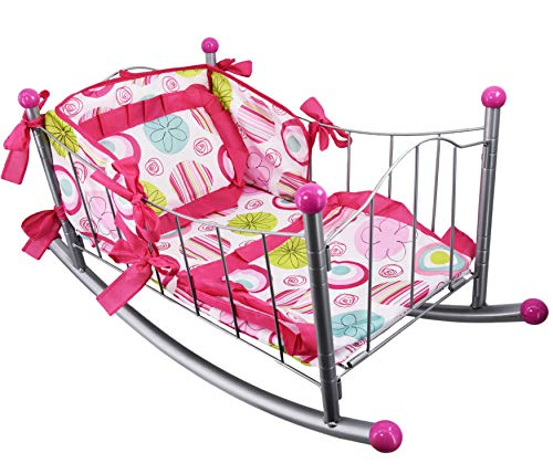 Dolls Rocking Cradle Metal Frame Cot with Pillow and Bedding Dolls Furniture Accessories Pretend Play Girls Toy (Rocking Cradle)