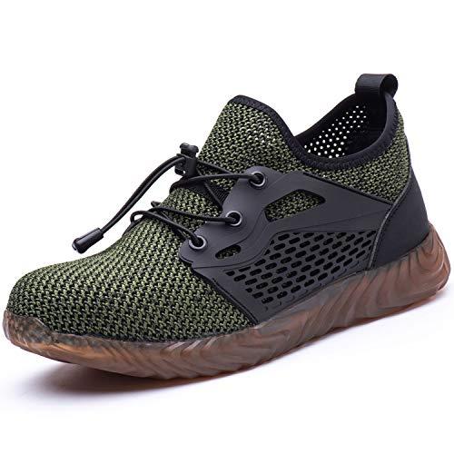 UCAYALI Sicherheitsschuhe Herren Sneaker Arbeitsschuhe Herren Stahlkappe Arbeitsschutzschuhe Kevlar-Zwischensohle(Mesh Grün, 43 EU)