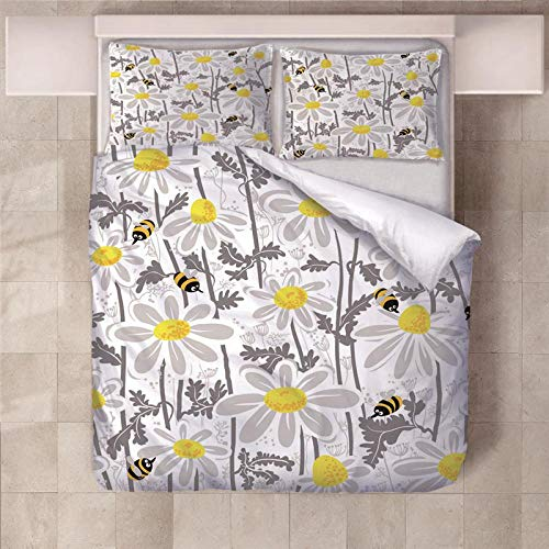 PERFECTPOT Single Duvet Cover Set Bee Flower Printed Bedding Duvet Cover Set in Polyester with Zipper Closure Quilt Bedding Sets with 2 Pillowcases for Adults Kids, 140 x 200 cm