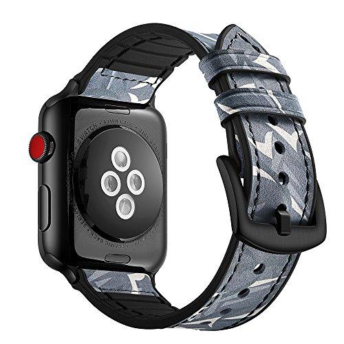 Dee Plus Cinturino in vera pelle per Apple Watch, Cinturini orologio in pelle e silicone ibrido, 8 colori per bracciale iwatch 6/SE/5/4/3/2/1 serie, con chiusura in metallo, adatto per uomini e donne