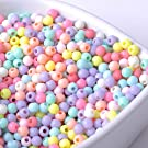 Max Corner 1000 Pcs 4 Mm Pastel Beads Acrylic Candy Color Mix Round Bead for Art Craft DIY Jewelry Making Supplies Bracelet Anklet Necklace