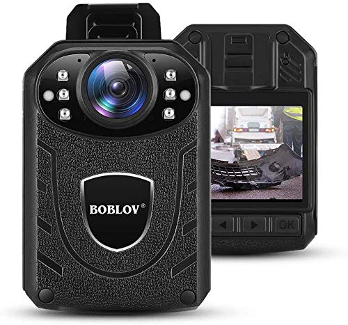 BOBLOV KJ21 Body Camera 1296P Body Wearable Camera Support Memory Expand Max 128G 8-10Hours Recording Police Body Camera Lightweight and Portable Easy to Operate Clear NightVision (128GB)