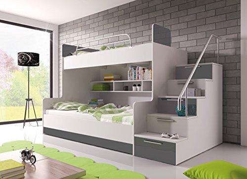 Möebel für Dich Hochglanz Etagenbett Doppelbett Alex mit Regalen, Treppe und Bettkasten in weiß/schwarz/rosa/grau/violett/blau (grau)
