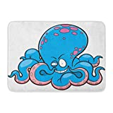 MARIODP Alfombrilla Antideslizante para Puerta de baño Angry of Cartoon Pulpo Cara Peces Animal Divertido Acuario 15.8'x23.6'