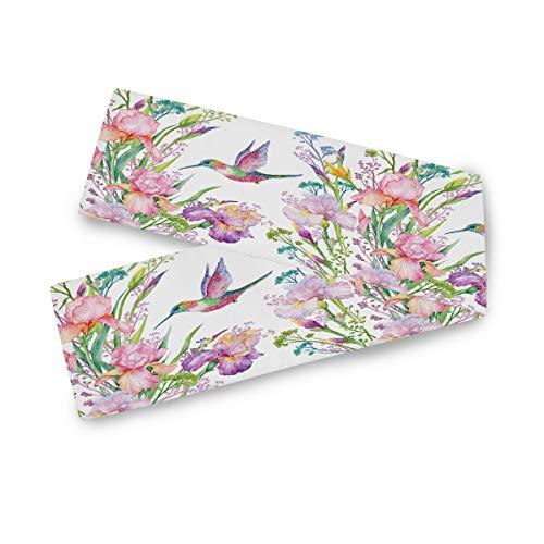 TropicalLife F17 - Camino de mesa rectangular para colibrí (poliéster, 33 x 177,8 cm), diseño floral