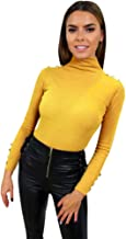 Women's Sweaters Long Sleeve Turtleneck Pullover Sweater Tops Slim Fit Buttons Blouse T-Shirt Knit Pullover Jumper Tops