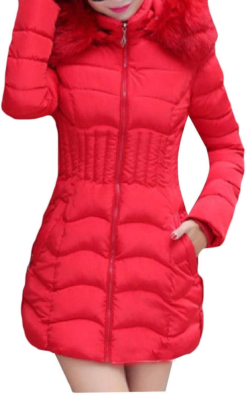 Doufine Womens Hooded FauxFur Trim Cotton Wadded Jacket Winter Coat