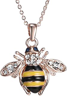 Figaro Design Elegent Crystal Yellow Little Bee Colored Glaze Drip Honey Bee Little Bumblebee Pendant Necklace