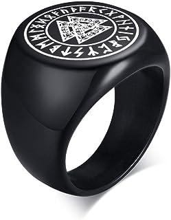 Vnox Acciaio Inossidabile Norreno Rune Vichinghe Anello con Sigillo Amuleto Celtico Pagano Peltro Vichingo Talismano Anell...