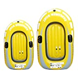 Inflatable Boat, Summer Pool Pool Floats, Inflatable Fishing Boat with Double Valve, Kayak Canoe Fishing Boat, Includes Oars, Cushioned Seats, Fits Up to 2 People (2 Person Yellow)